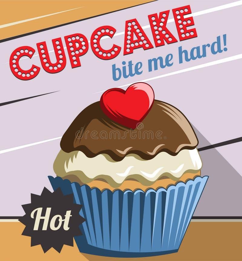 Vintage retro cupcake poster template stock illustration
