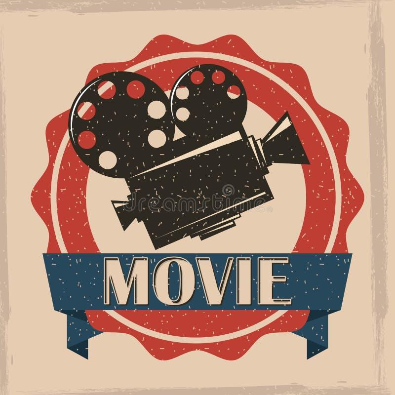 Vintage retro del cartel del proyector de película de cine ilustración del vector