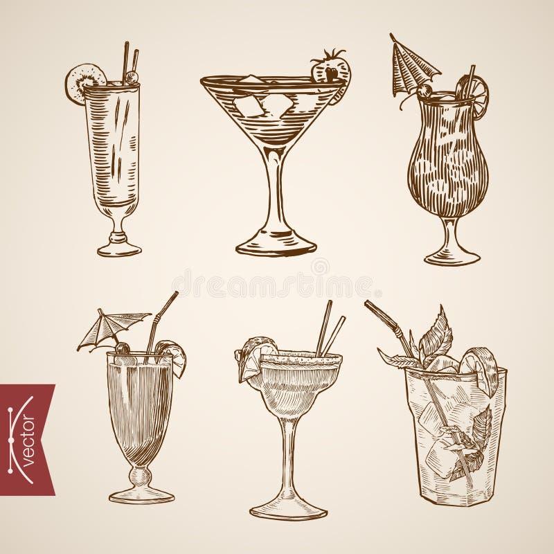 Vintage retro del lineart de los vidrios del alcohol del aperitivo del cóctel stock de ilustración