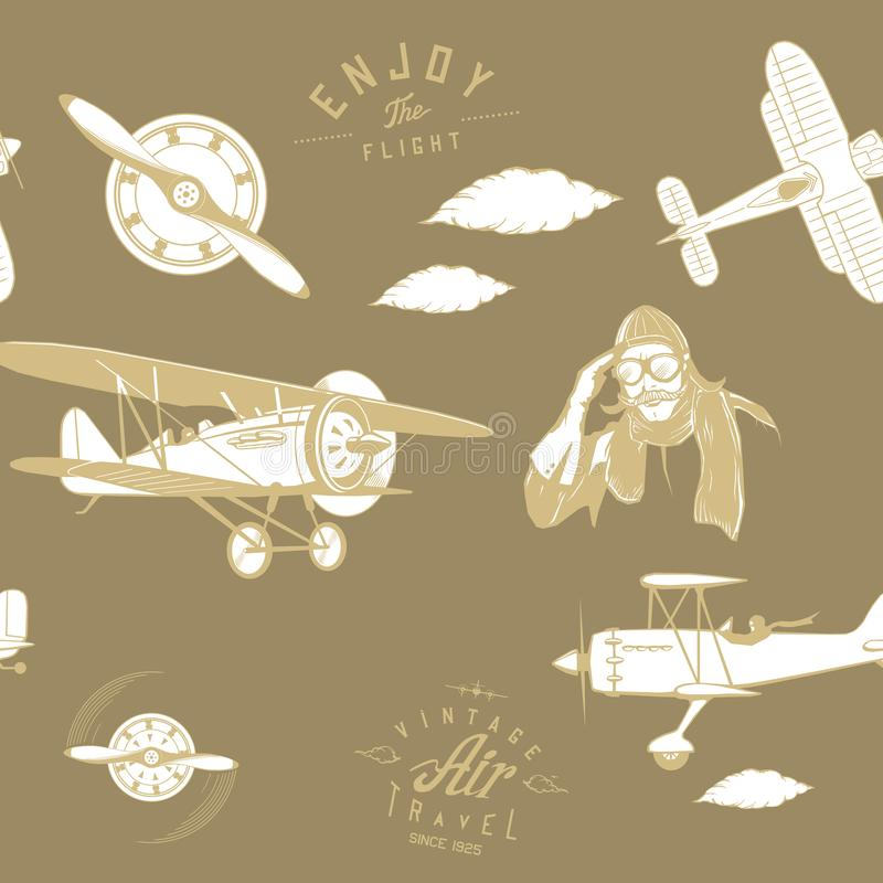 Vintage retro del monograma inconsútil del marrón del modelo de la aviación stock de ilustración