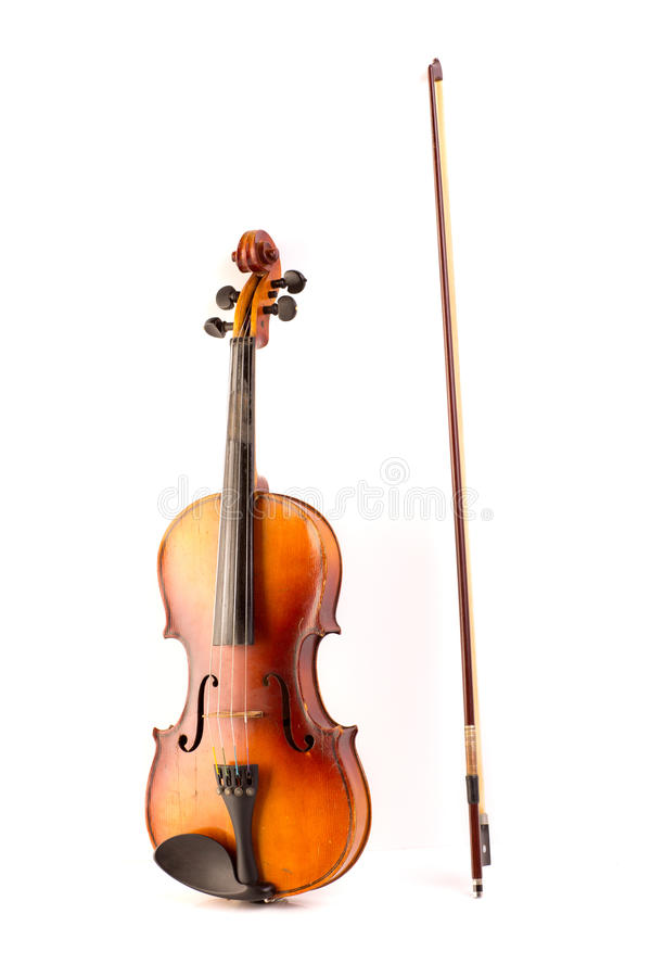 Vintage retro del violín aislado en blanco imágenes de archivo libres de regalías