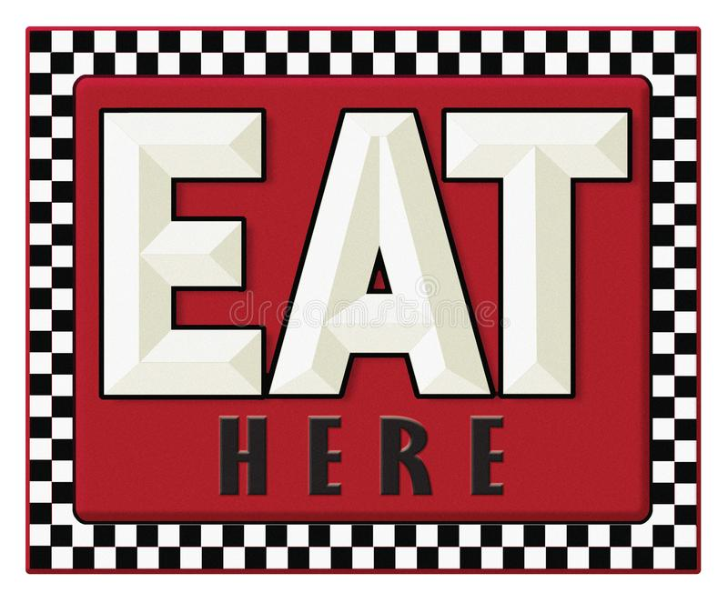 Diner Sign Retro Eat Here. Vintage Retro Diner Sign Eat here with red background and checkerboard border vector illustration