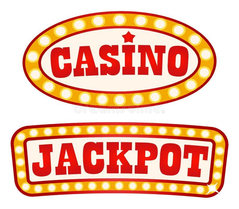 Vintage retro do estilo dos quadros indicadores do jackpot e do casino ilustração stock