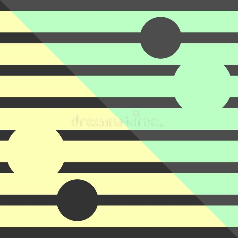 Vintage retro geometric pattern vector background design art with circles and horizontal stripes pastel yellow green grey colors. Lines vector illustration