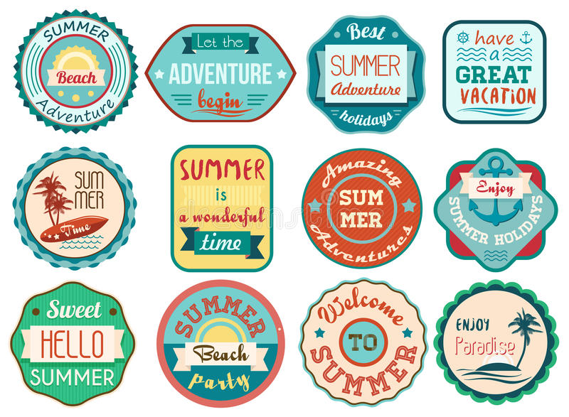 Vintage retro grunge summer vacation travel labels and badges stickers icons set. stock illustration