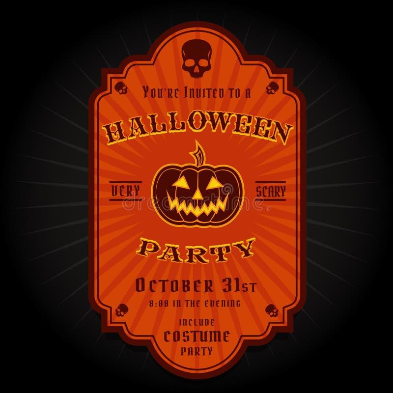Vintage Retro Halloween Party Invitation Label Stock Vector ...