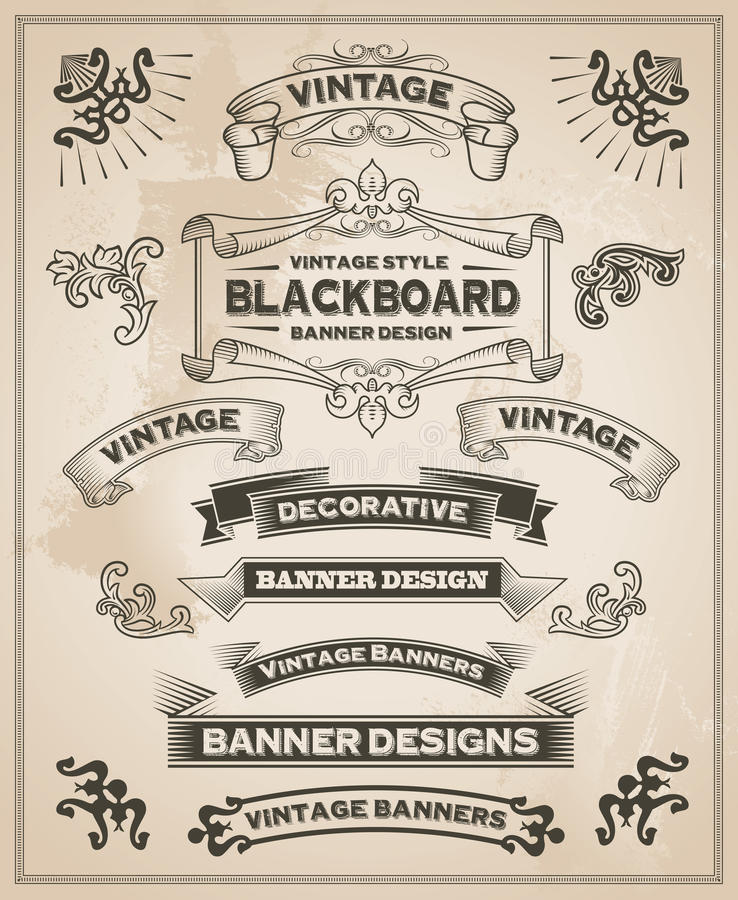 Vintage retro hand drawn banners royalty free illustration
