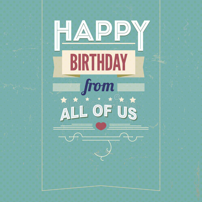 Download Vintage Retro Happy Birthday Card, With Fonts Stock Vector - Illustration of sign, birth: 35538965