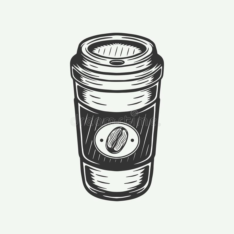 Vintage retro hot coffee cup take away. vector illustration
