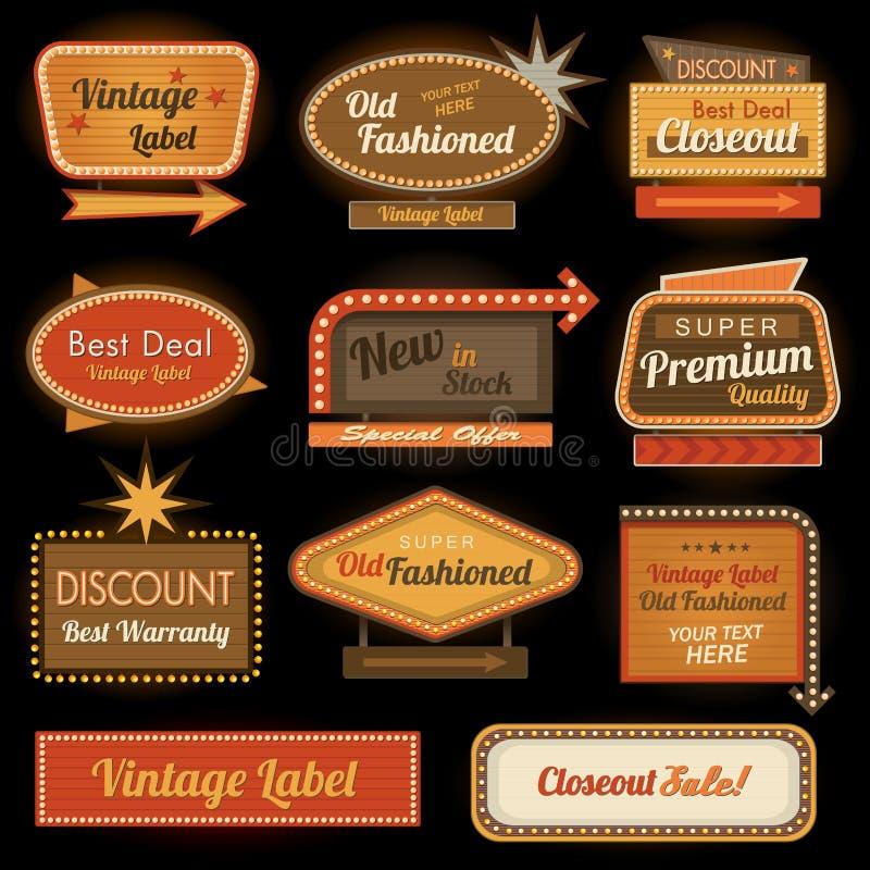 Vintage retro label signs