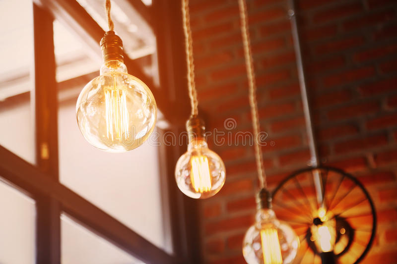 Vintage or retro lamp on old wall in home, Feeling romantic in old home with retro light, Lighting equipment in interior home royalty free stock photos