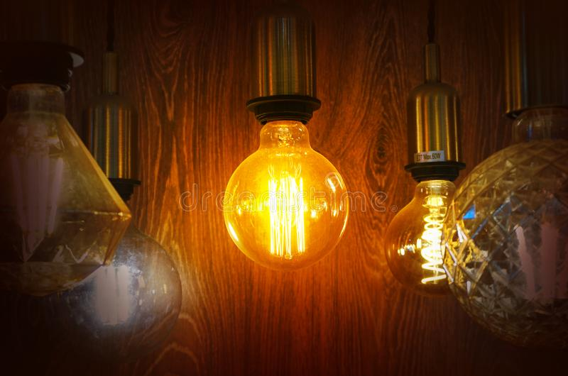 Vintage or retro lamp on old wall in home royalty free stock image