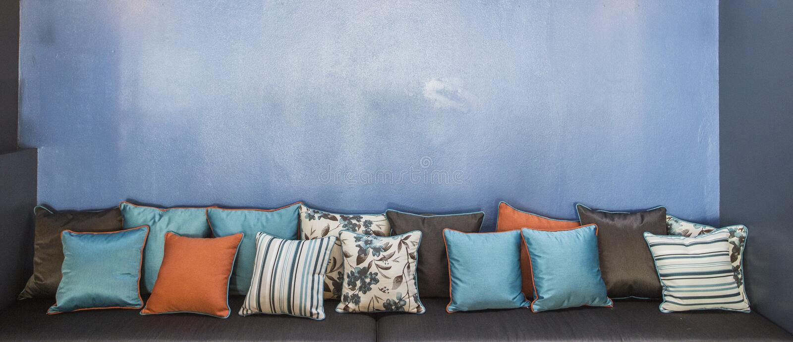 Vintage retro living room with pillows royalty free stock photography