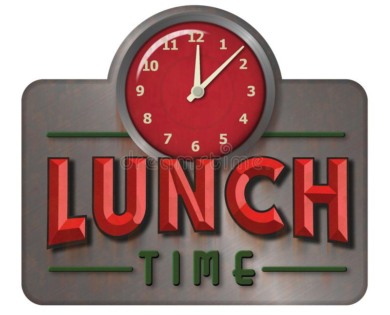 Lunch Time Vintage Sign with Clock royalty free stock photo