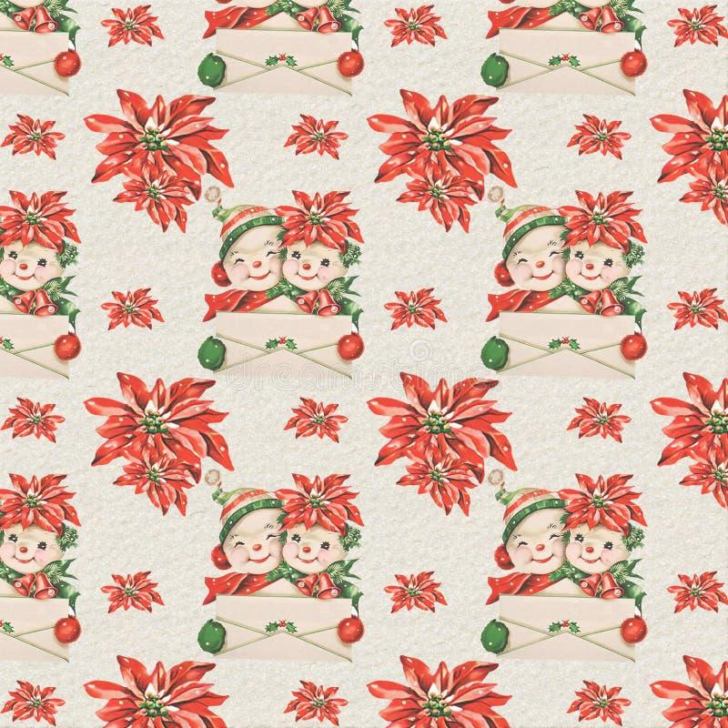 Vintage Retro Mid Century Christmas Background Papers - Snowmen - Poinsettia. Vintage mid century snowmen and poinsettias Christmas background texture for royalty free illustration