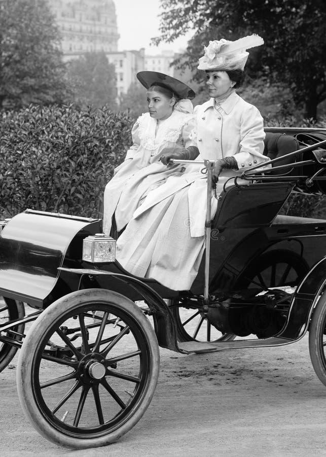Vintage Antique Automobile, Car, Woman Driver stock image