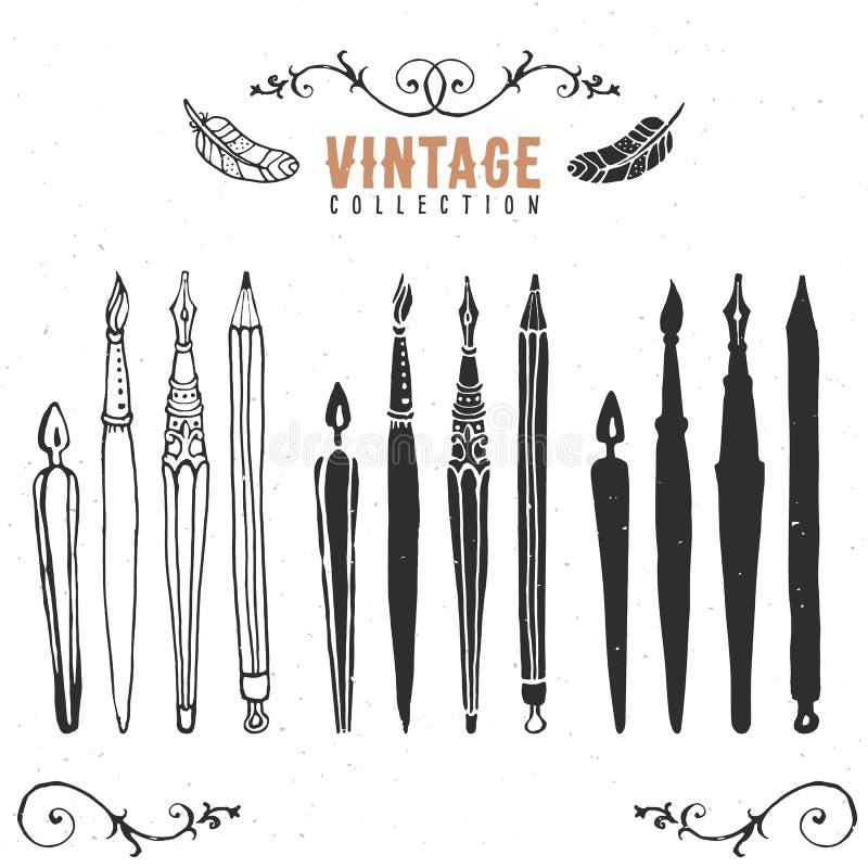 Vintage retro old nib pen brush collection. vector illustration