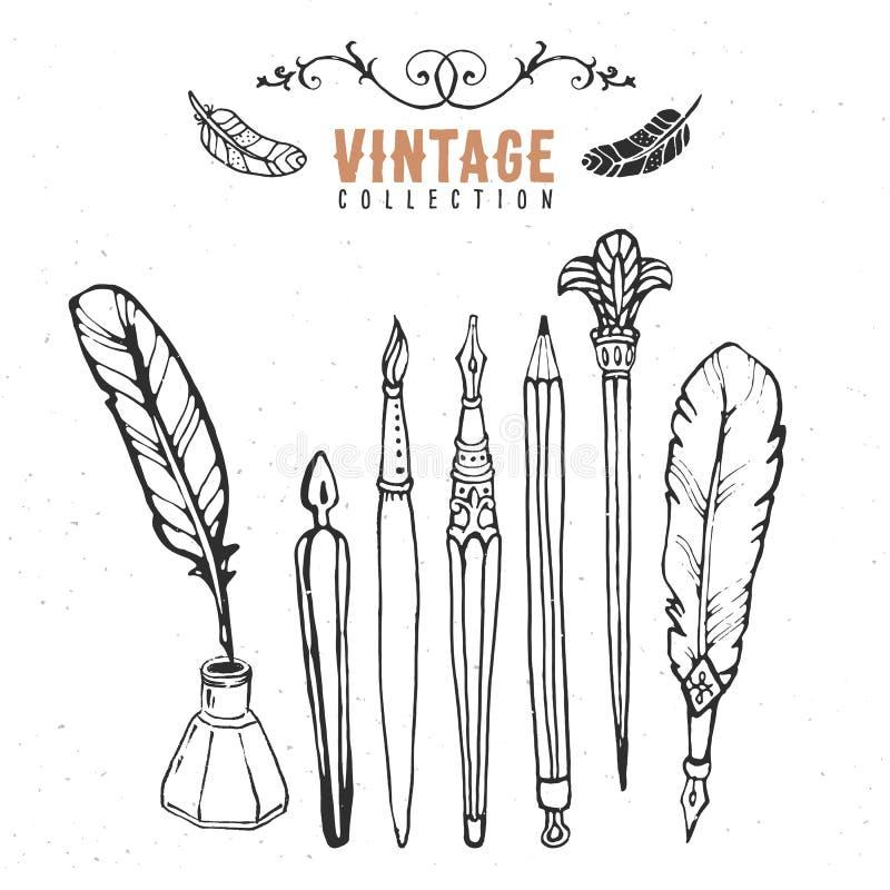 Vintage retro old nib pen brush ink collection. Hand drawn vector. Illustrations. Vol.2 vector illustration