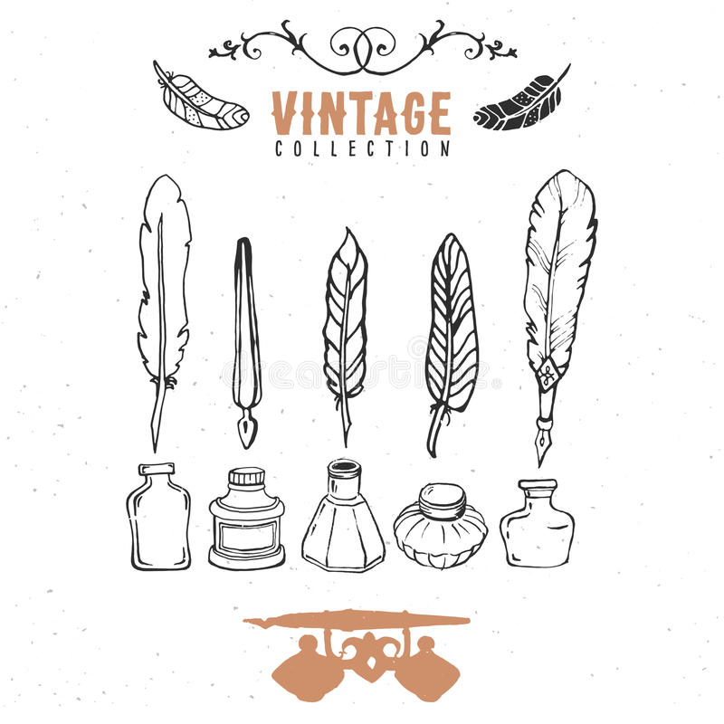 Vintage retro old nib pen feather ink collection. Hand drawn vector. Illustrations. Vol.8 stock illustration