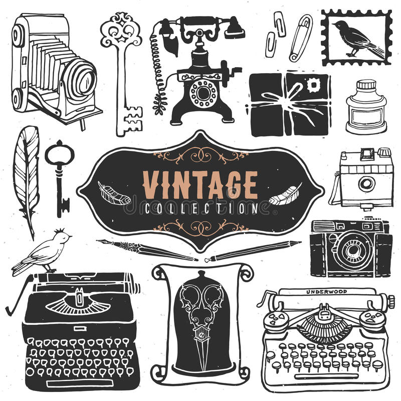 Vintage retro old things collection. stock illustration