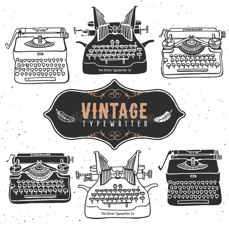 Vintage retro old typewriter collection. Hand drawn vector royalty free illustration