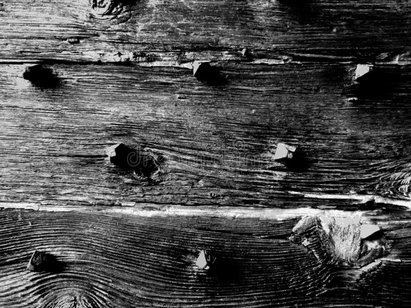 Vintage retro old wood background texture with knots and big nails, black and white royalty free stock images