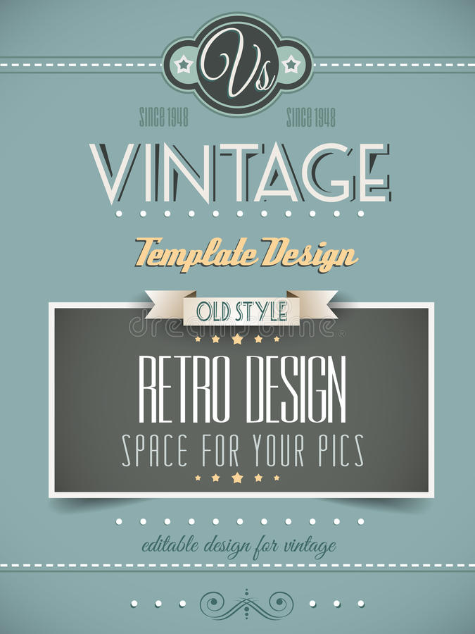 Vintage Retro Page Or Cover Template Stock Vector - Illustration of ...
