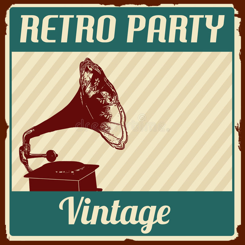 Vintage Retro Party poster royalty free illustration