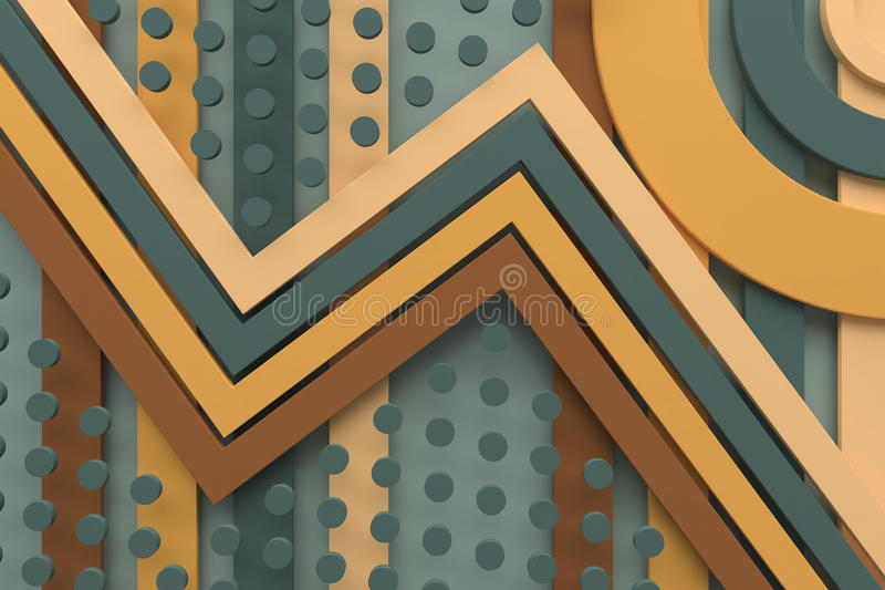Vintage retro pattern background line and dot 3d rendering stock photos