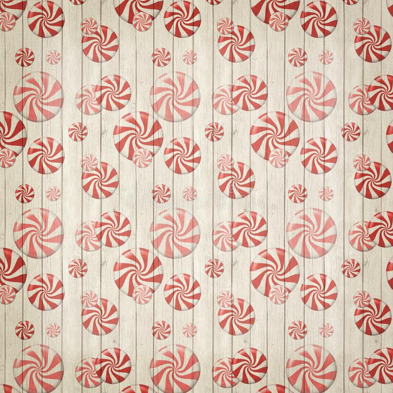 Vintage Retro Peppermint Candy Background Texture - Red - White - Christmas Texture. Vintage retro peppermint candy whimsical holiday Christmas background stock illustration