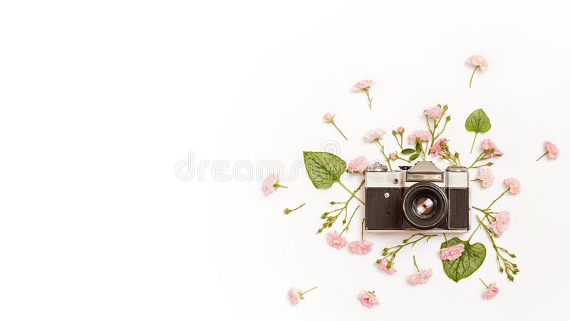 Vintage retro photo camera with place for text. royalty free stock photos