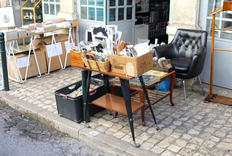 Vintage retro photos furniture flea market, Lisbon, Portugal stock photos