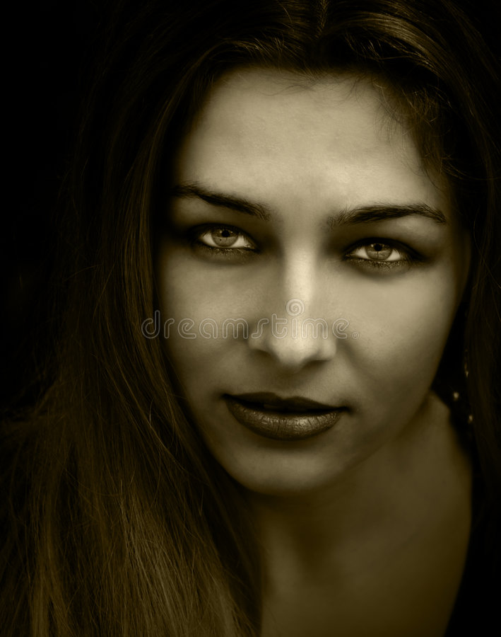 Vintage retro portrait of one woman with nice eyes royalty free stock photography