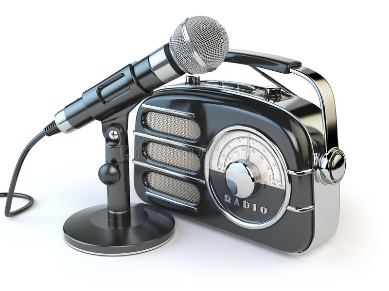 Vintage retro radio receiver and microphone on white. vector illustration