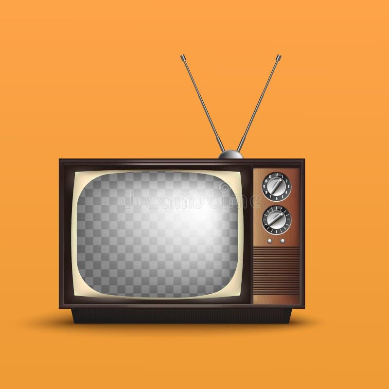 Vintage retro realista TV Con el texto Vector libre illustration