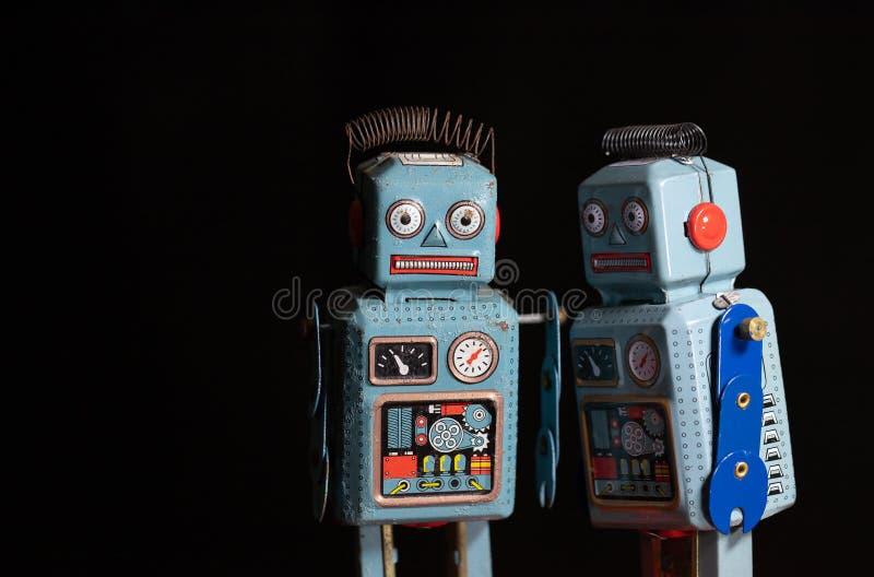 Vintage retro robot tin toy stock image