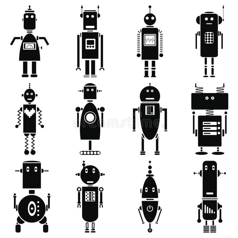 Vintage retro robots icons set in black and white. Graphic vector illustration