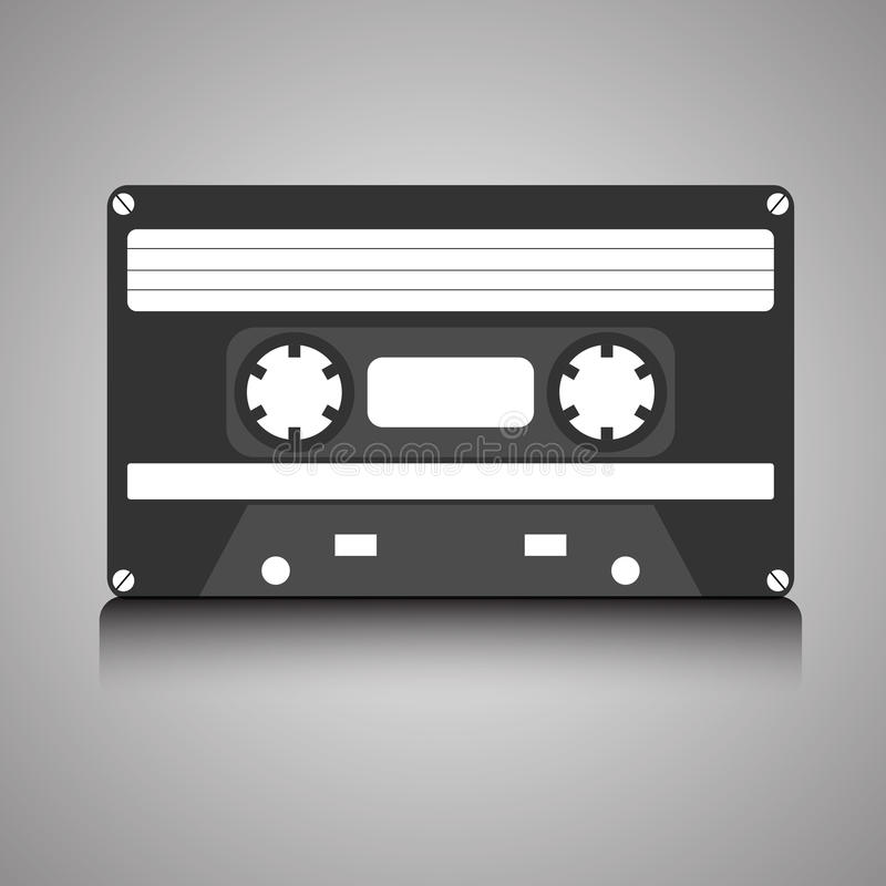Vintage retro 80s audio cassette on gradient background vector illustration
