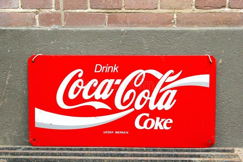 Vintage retro signboard Coca Cola royalty free stock photography