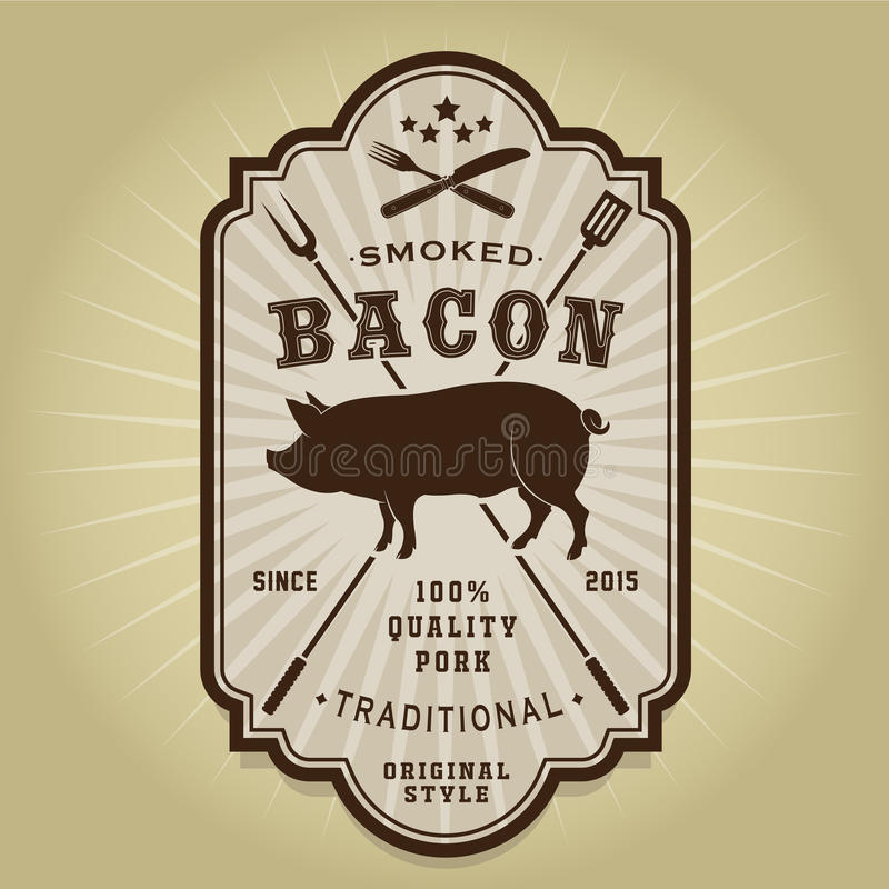 Vintage Retro Smoked Bacon Seal stock illustration