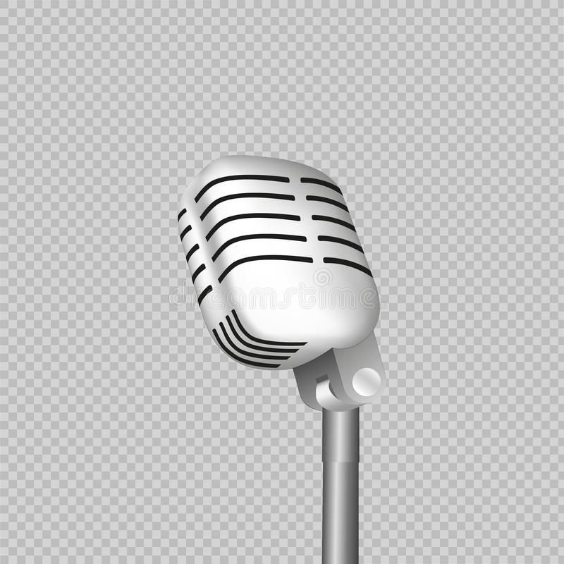 Vintage retro stage microphone - web icon. old technology object concept. Design sign, vector art image illustration, isolated. vector illustration