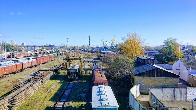 Vintage retro station for freight trains. stock photos