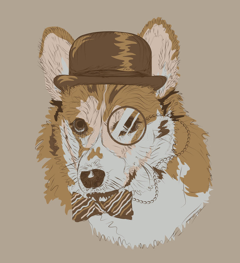 Vintage Drawing of Corgi with hat monocle and bowt. Vintage retro style color drawing of funny corgi dog with bowler hat monocle and bowtie royalty free illustration