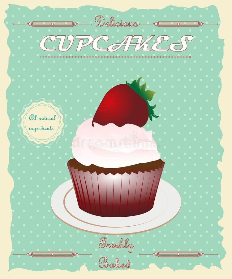Vintage retro style cupcake poster. stock illustration