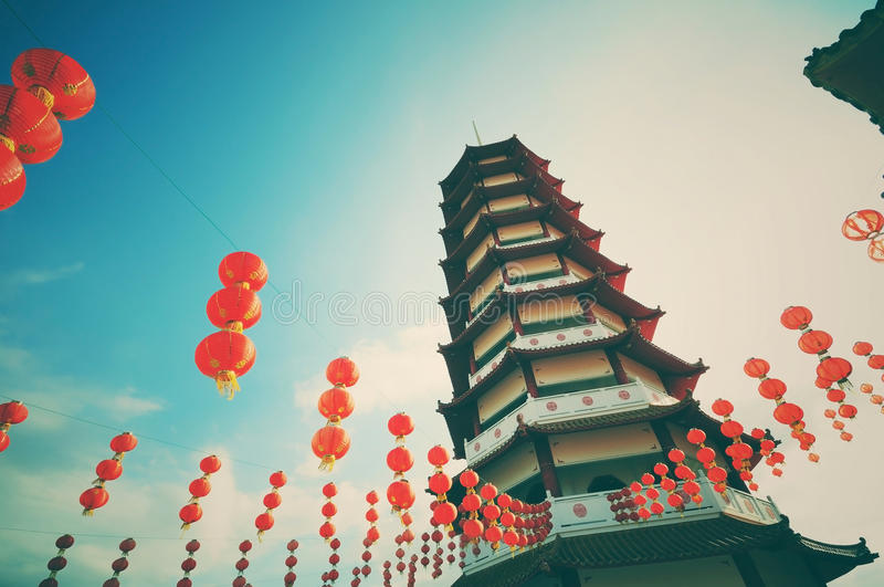 Vintage and retro style pagoda and chinese new year lanterns. With filter and vignette effect royalty free stock image