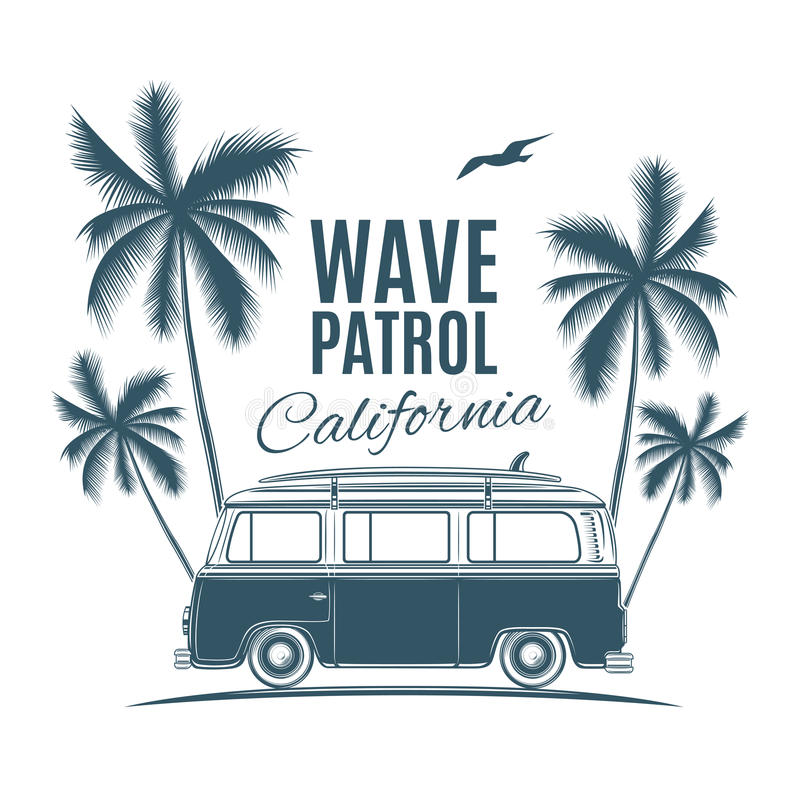 Vintage, retro surf van with palms and a gull. Handdrawn t-shirt graphic, print. Vector illustration stock illustration