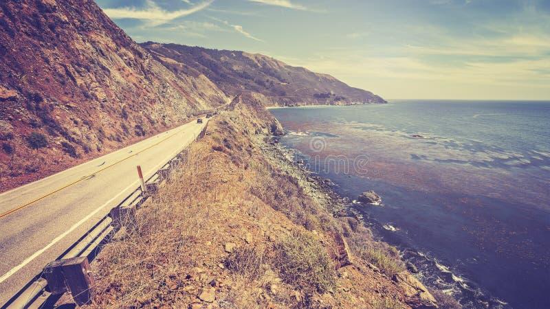 Vintage retro toned scenic Pacific Coast Highway, California. Vintage retro toned scenic Pacific Coast Highway, California, USA stock images