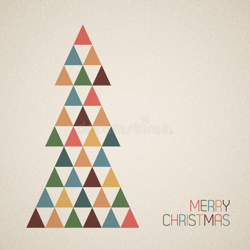 Vintage retro vector grunge Christmas tree royalty free illustration