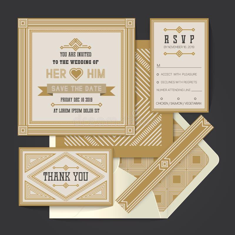 Vintage retro vector Wedding invitation card template stock photos