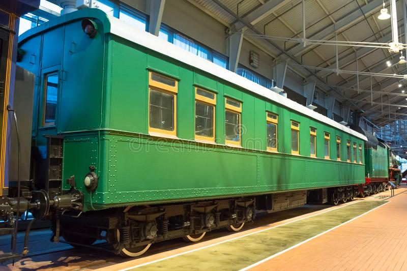 Vintage retro vintage cars locomotives of times of the USSR. Russia, Saint-Petersburg. Museum Railways of Russia December 21, 2017 royalty free stock photo